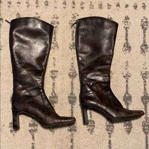 Spring Heeled Faux Leather Boots